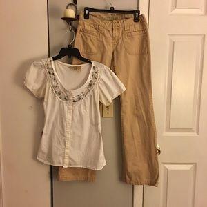 Day Trip button down shirt Med & Aero khackis  3/4